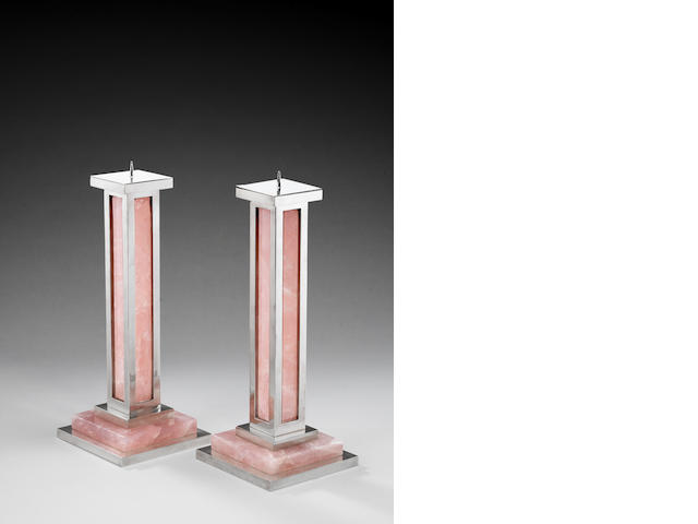 A pair of large sterling silver and rose quartz candlesticks  Paul Belvoir