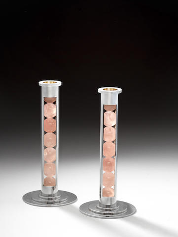 Paul Belvoir A Pair of Gumball Candlesticks 2007  silver and rose quartz hallmarked and stamped PGB to the underside of the base  Height: 9 1/4 in. 23.5 cm.