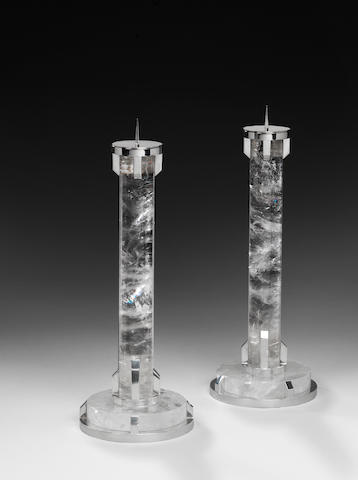 Paul Belvoir A Pair of Round Column Candlesticks 2010  sterling silver and rock crystal hallmarked and stamped PGB to the underside of the base   Height: 15 1/4 in. 38.5 cm.  These candlesticks are unique.