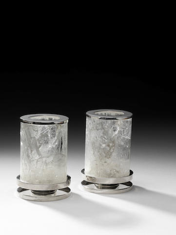 A pair of small rock crystal lanterns with sterling silver bases Hallmarked, Makers mark Paul Belvoir, English 2012
