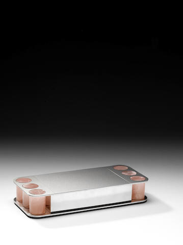 A silver and rose quartz box By Paul Belvoir