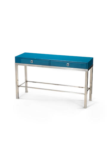 A two drawer lacquered console table with glass lower shelf Guy Lefevre, French c 1970