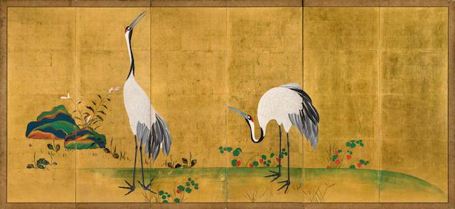 A six-panel screen of cranes