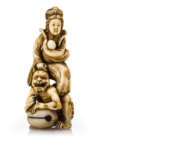 An ivory netsuke of Benten, by Gyokusen, 19th century