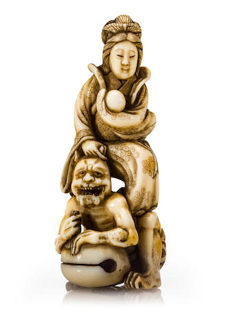 An ivory netsuke of Benten, by Gyokusen, 19th century