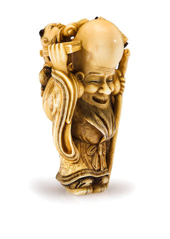An ivory netsuke of Fukurokuju, by Masakazu, 19th century
