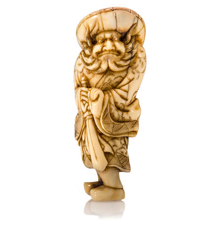 An ivory netsuke of Shoki Style of Yoshinaga, Edo period (18th century)