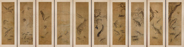 10 panel Korean screen, 19th C.