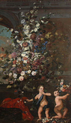 Attributed to Franz Werner von Tamm, called Dapper (Hamburg 1658-1724 Vienna) A still life of flowers in a decorated vase resting on a balustrade and two putti 112 x 66in