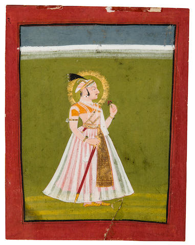 Maharana Ari Singh Opaque watercolor and gold on paper, Mewar, late 18th century