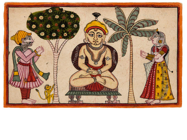 Two folk paintings Opaque watercolor and gold on paper, Gujarat, Late 19th century
