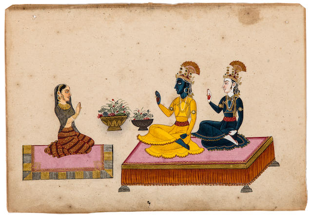 An illustration from the Bhagavata Purana Opaque watercolor and gold on paper, Nepal, 19th century