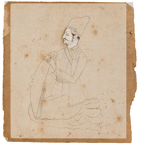 Portrait of a ruler Ink and wash on paper, Mewar, 19th century
