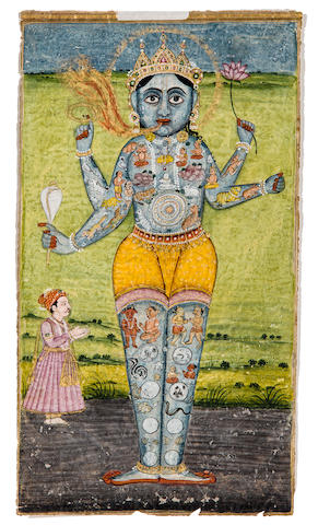 Cosmic Vishnu Opaque watercolor and gold on paper, Jodhpur, 19th century