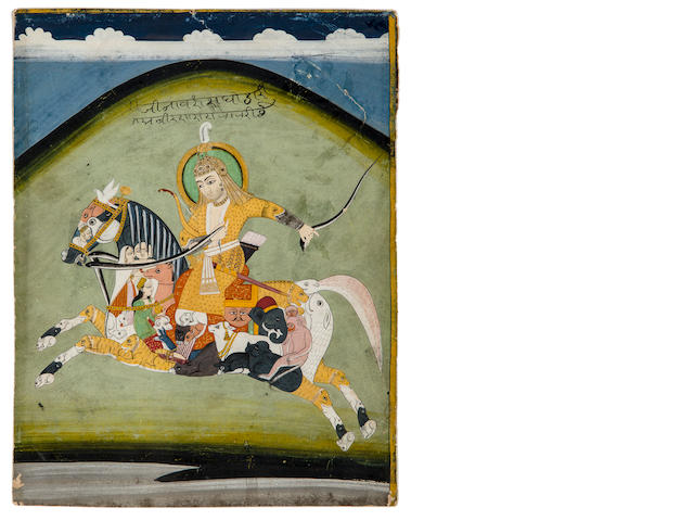 A warrior riding a composite horse Opaque watercolor on paper, Jaipur, Mid 19th century