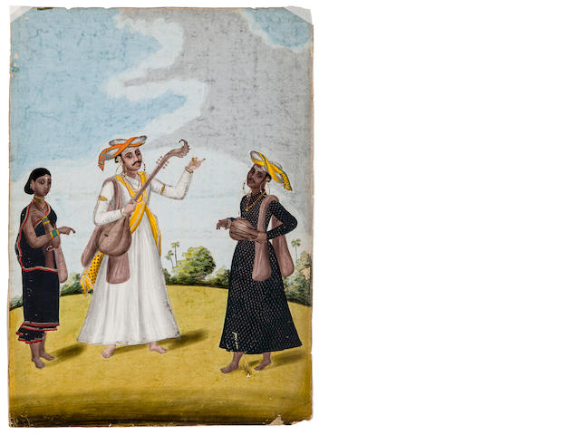 A Company SChool study of musicians Opaque watercolor on paper, Mysore, Early 19th century