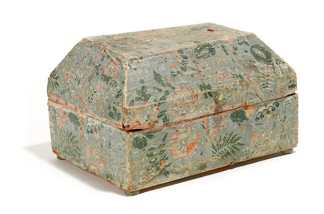 A French papier peint table casket