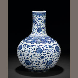 A magnificent Chinese blue and white stick neck globular vase (tianqiuping) with Ming style vine and lotus motif decoration  Yongzheng Mark and period