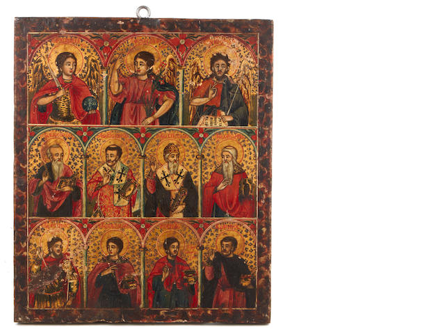 A Greek polychrome decorated icon