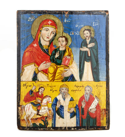 A Greek polychrome decorated icon