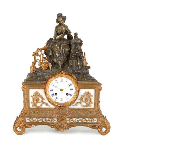 A French gilt and patinated metal, marble and enamel shelf clock