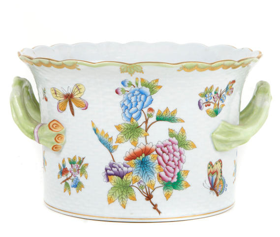 An Herend porcelain two handled cachepot in the Queen Victoria pattern