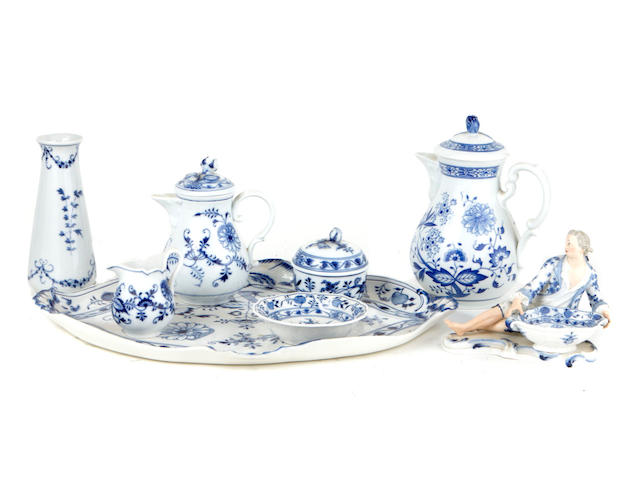 An assembled group of German blue and white porcelain articles