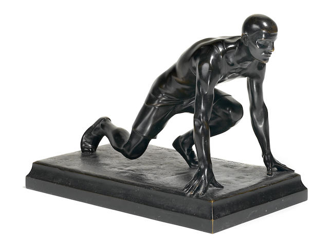 A patinated bronze figure of a sprinter Adolf Wagner von der Mühl (Austrian, 1884-1962)<BR />#16/140