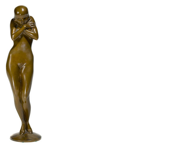 A patinated bronze Art Deco figure of a nude woman after a model by Wolfgang Schwartzkopff<BR />1927