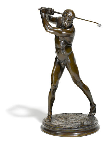 A patinated bronze: The Nude Golfer<BR />Adolph Alexander Weinman (American, 1870-1952)<BR />1901