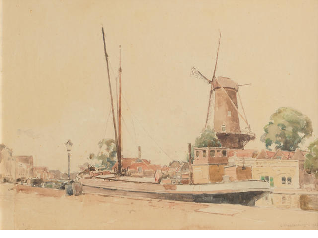 Cornelis Vreedenburgh (Dutch, 1880-1946) Windmill, canal and barge signed lower right and dated 1937 watercolor on paper 13 x 18in