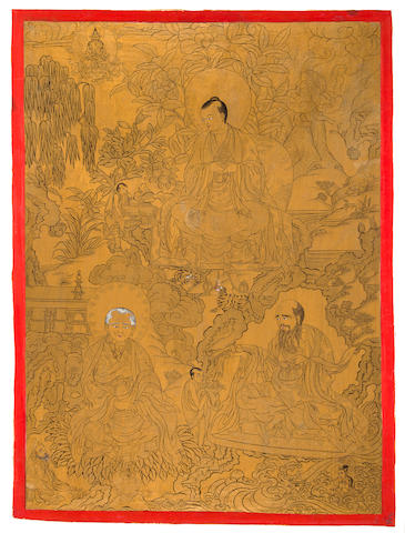 A group of three gold ground thangkas of arhats Ink, mineral pigment and gold in cloth, Tibet 19th century