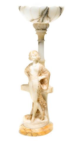 An Italian alabaster figural lamp