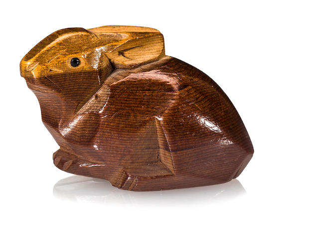 A wood netsuke of hare By Sukenao, Edo period (19th century)