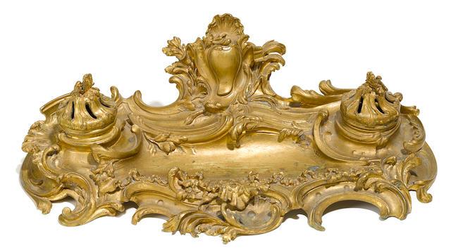 A Louis XV style gilt bronze encrier