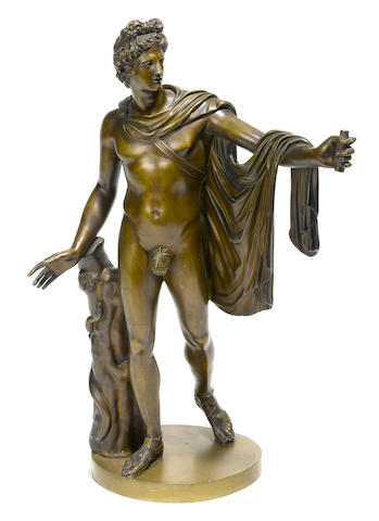 A patinated bronze figure of the Apollo Belvedere