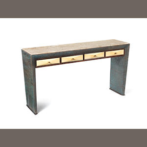 A wood and vellum console table with four drawers and travertine top Borsani, Italian c 1940