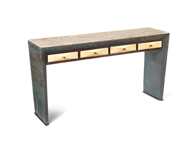 Guglielmo Ulrich A Vellum Console circa 1940  stained and carved wood with travertine top  35 13/16 x 67 1/2 x 17 5/16 in. 91 x 171.5 x 44 cm.