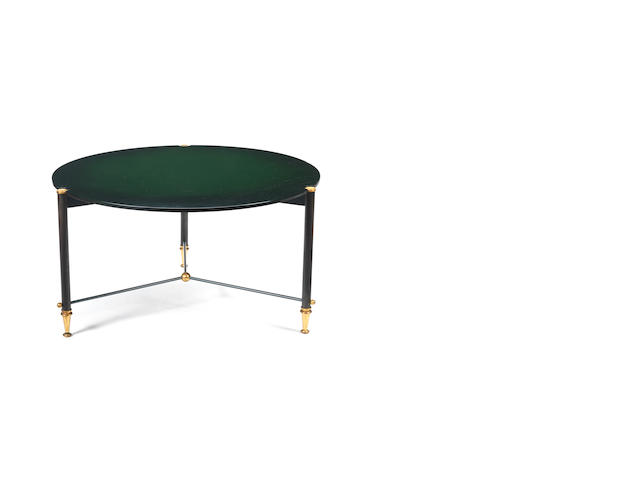 A green laquered coffee table with gilt and gunmetal base Leleu, French c 1950