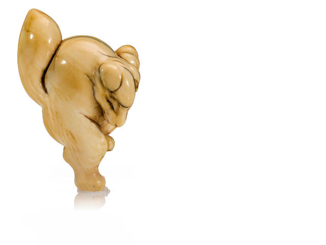 An ivory netsuke of a dancing fox<BR />Late 18th century