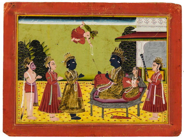 The worship of Vishnu and Lakshmi Opaque watercolor and gold on paper, Raghugarh, 19th century