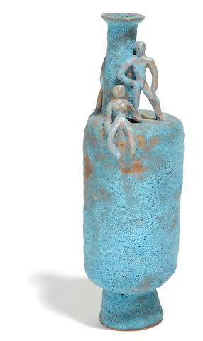 A Beatrice Wood blue glazed earthenware figural vase