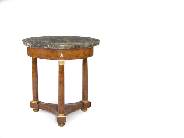 An Empire gilt bronze mounted burlwood and elm table de milieu<BR /> early 19th century