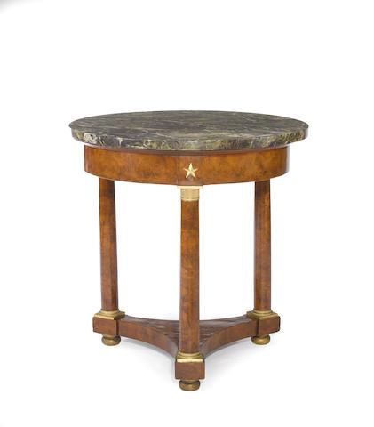 An Empire gilt bronze mounted burlwood and elm table de milieu<BR /> early 19th century