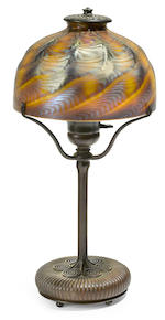 A Tiffany Studios Favrile glass and bronze table lamp 1898-1902