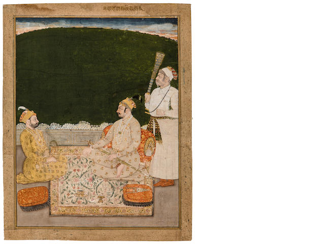 Maharaja Raj Singh and receiving Fateh Singh Attributed to Nihal Chand<BR />Opaque watercolor and gold on paper, Kishangarh, circa 1750