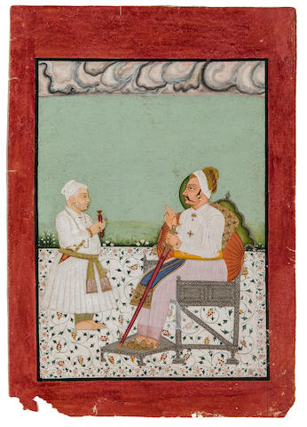 Maharaja of Raghugarh and courtier Opaque watercolor and gold on paper, Raghugarh, circa 1750