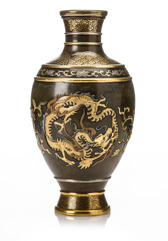 An inlaid bronze vase  By the Inoue Company, Meiji period (late 19th century)