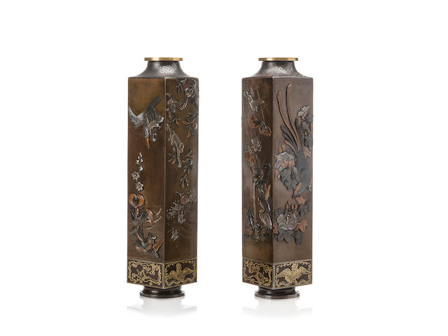 A pair of inlaid bronze vases By Atsuyoshi, Meiji period (late 19th century)