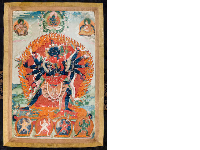 A thangka of Chakrasamvara Distemper on cloth, Tibet, 17th/18th century